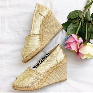 BRAND NEW Forever Link gold wedge heel size 7.5